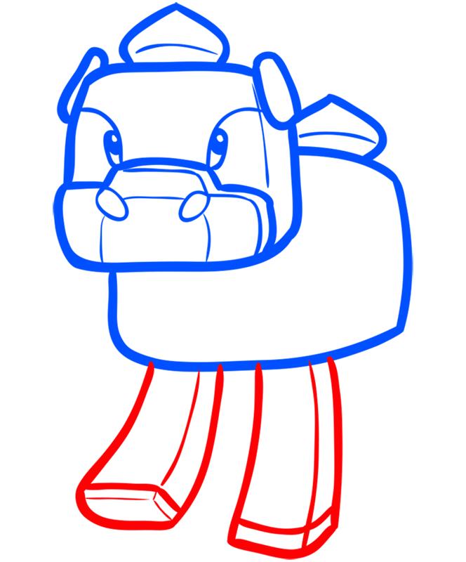 Learn easy to draw how to draw mooshroom minecraft chibi 5