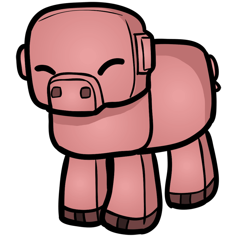Learn easy to draw how to draw pig minecraft chibi 0