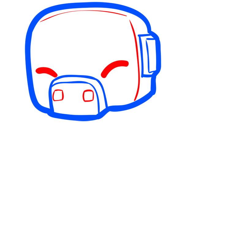 Learn easy to draw how to draw pig minecraft chibi 2