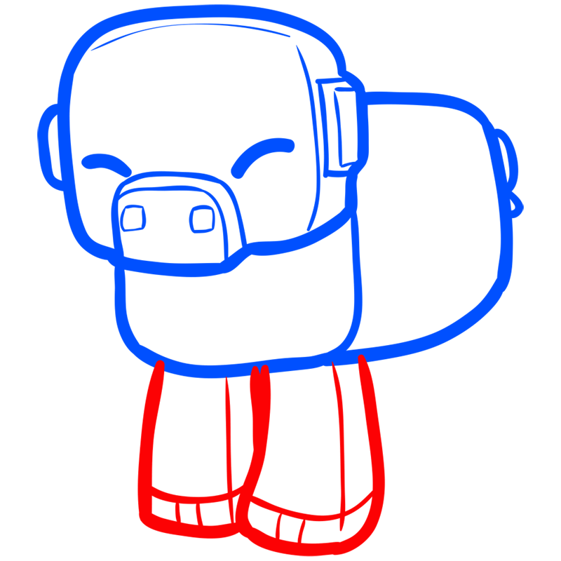 Learn easy to draw how to draw pig minecraft chibi 5