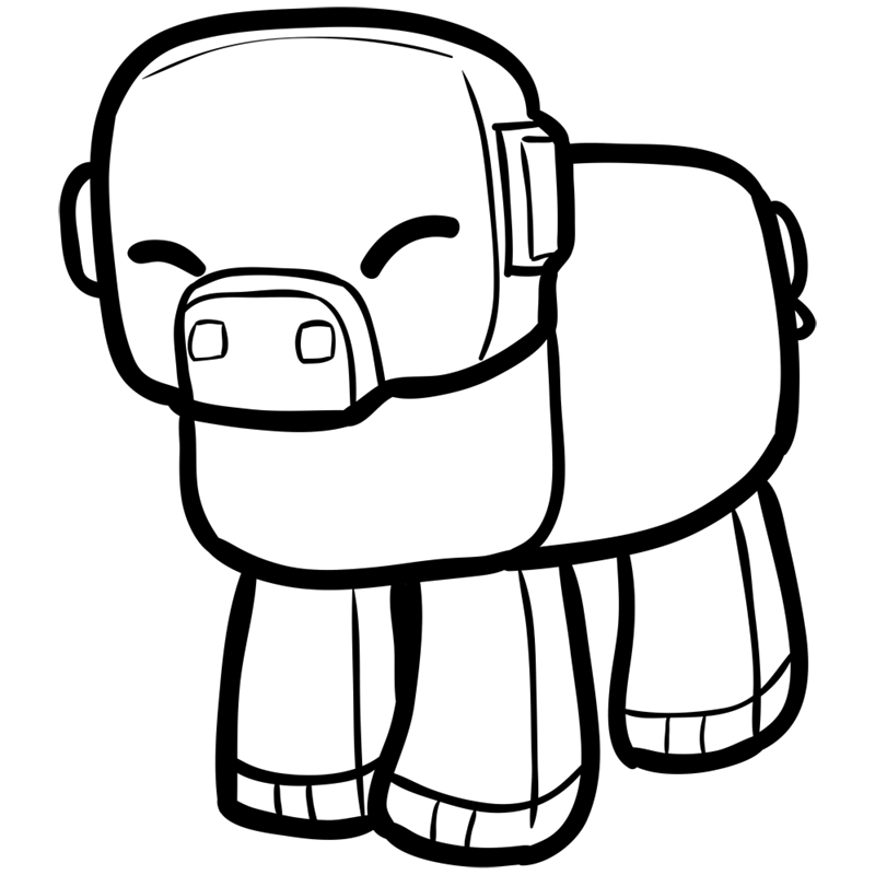 Learn easy to draw how to draw pig minecraft chibi 7