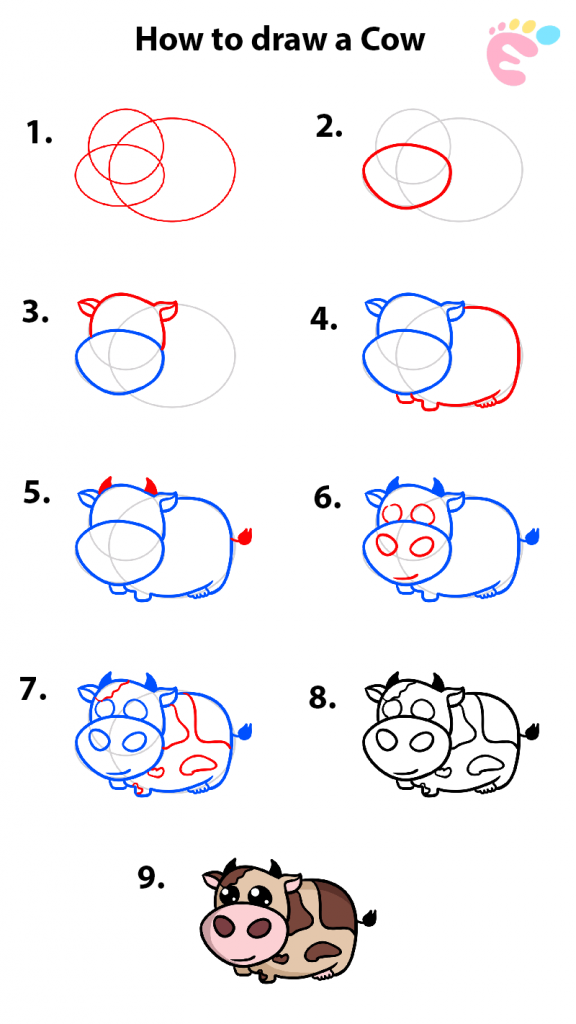 Learn easy to draw easy to draw a cow 576x1024