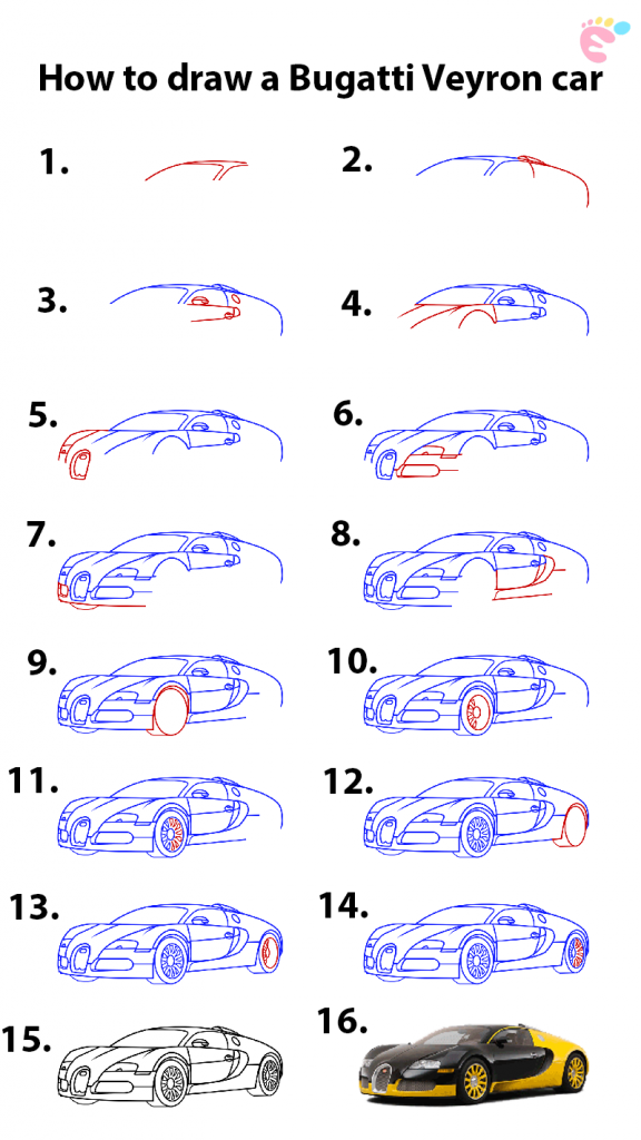 Learn easy to draw how to draw a bugatti veyron car 576x1024