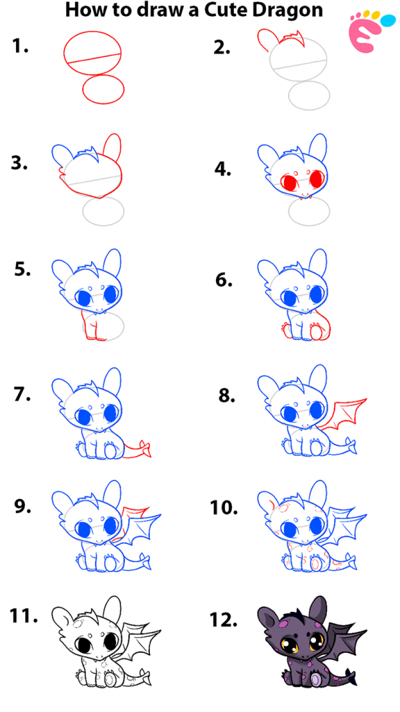 Learn easy to draw how to draw a cute dragon 576x1024