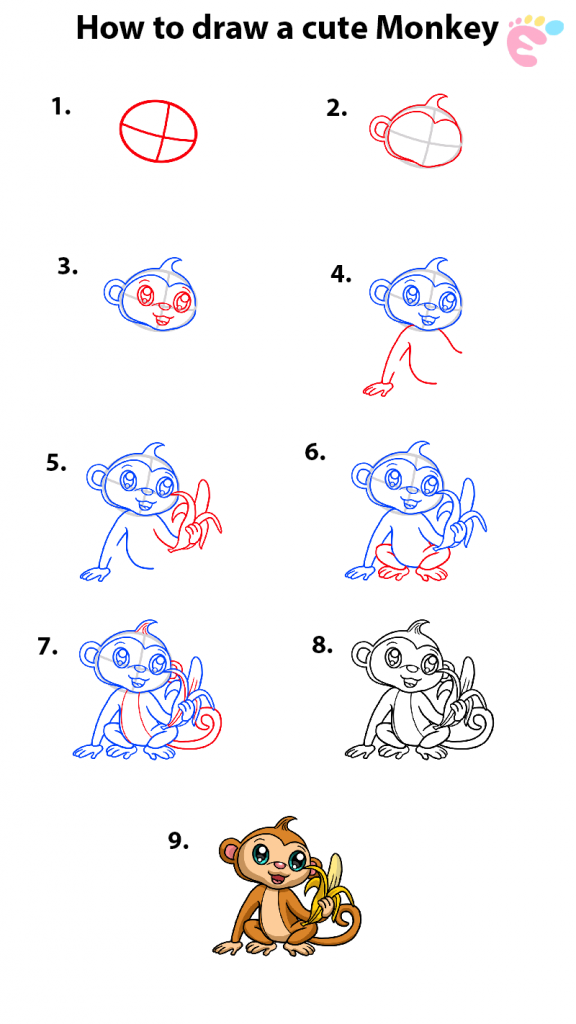 Learn easy to draw how to draw a cute monkey with banana 576x1024