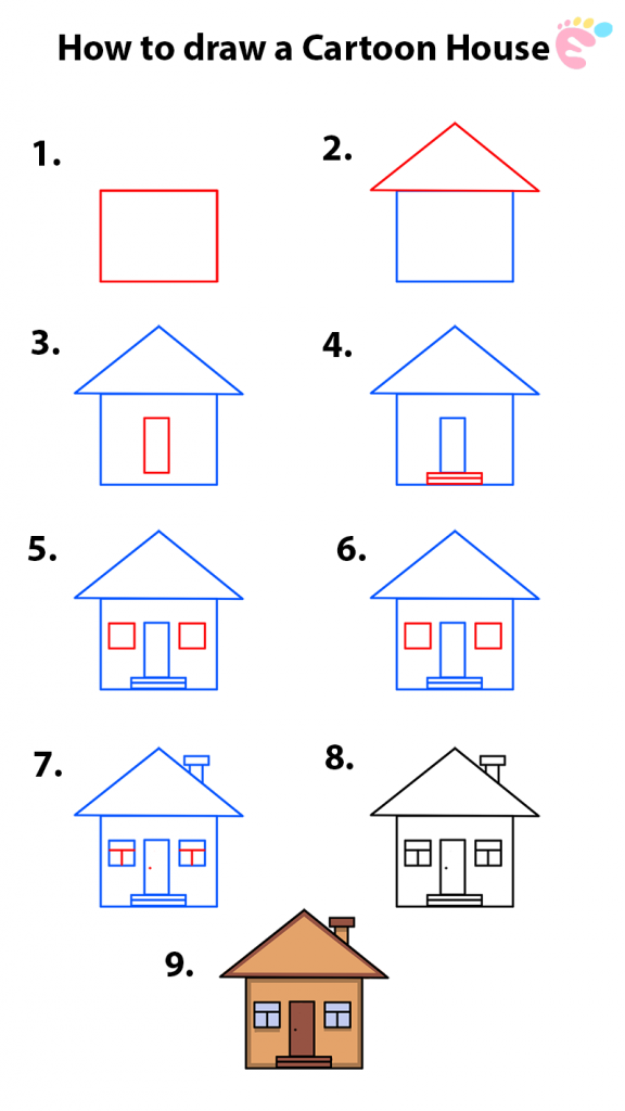 Learn easy to draw how to draw a house cartoon 576x1024