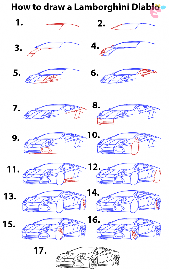 Learn easy to draw how to draw a lamborghini diablo step by step 645x1024