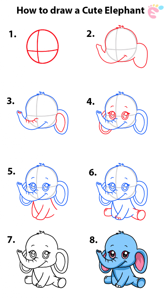 Learn easy to draw how to draw an elephant 576x1024