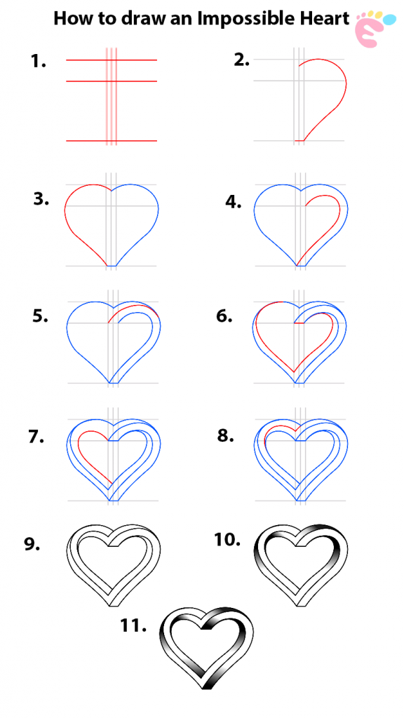 Learn easy to draw how to draw an impossible heart 576x1024