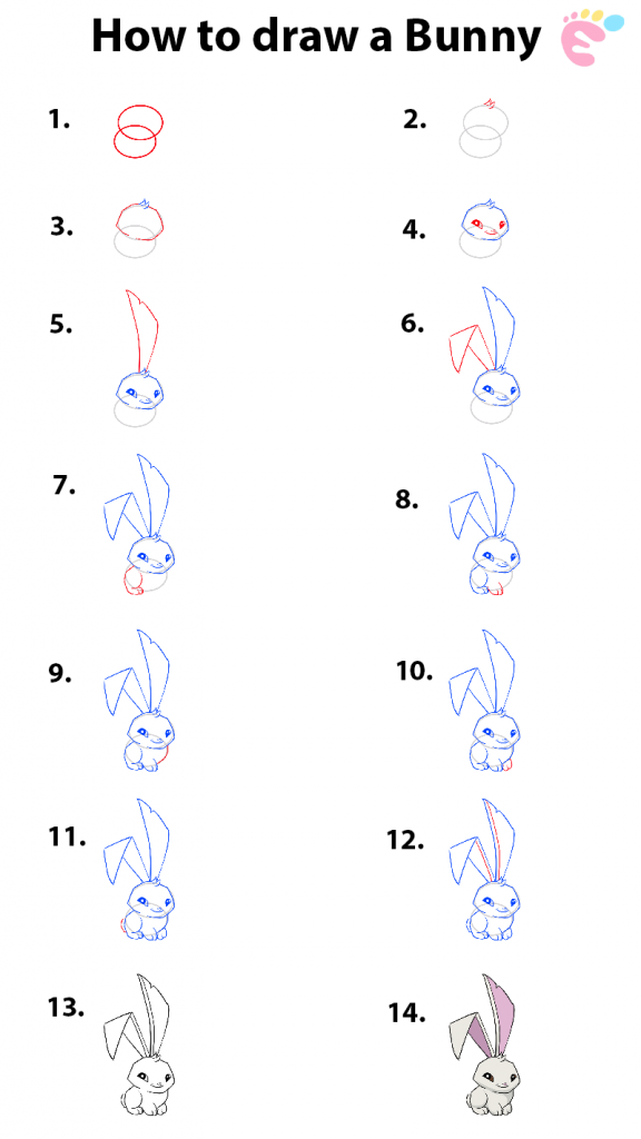Learn easy to draw how to draw a bunny 576x1024