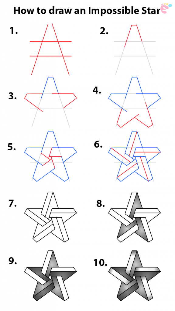Learn easy to draw how to draw a star impossible 576x1024