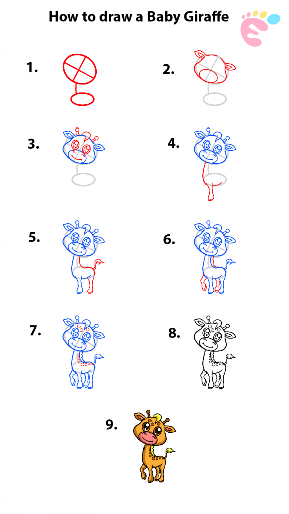 Learn easy to draw how to draw a giraffe 576x1024
