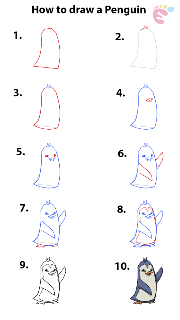 Learn easy to draw how to draw a penguin 576x1024