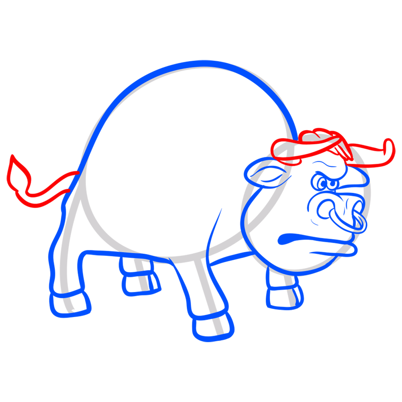 Learn easy to draw how to draw a bull drawing 7