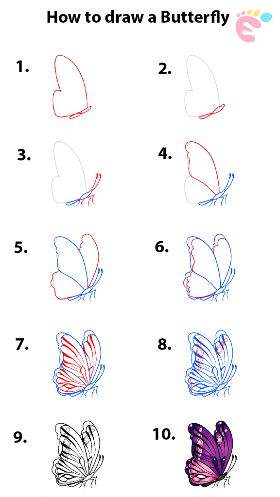 Learn easy to draw how to draw a butterfly line drawing 0 576x1024