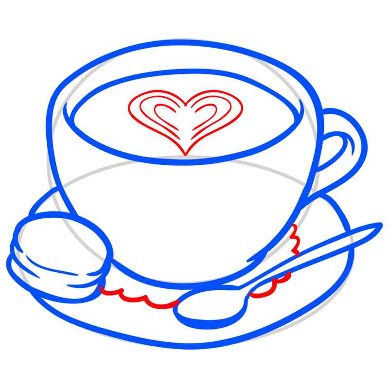 Learn easy to draw how to draw a cup coffee drawing 6