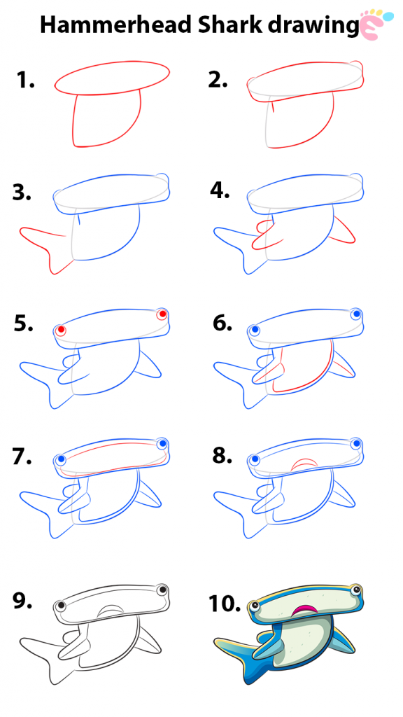 Learn easy to draw how to draw a hammerhead shark drawing 576x1024