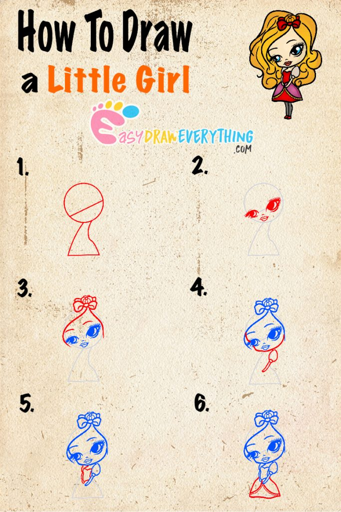 Learn easy to draw how to draw a little girl drawing step 00 683x1024