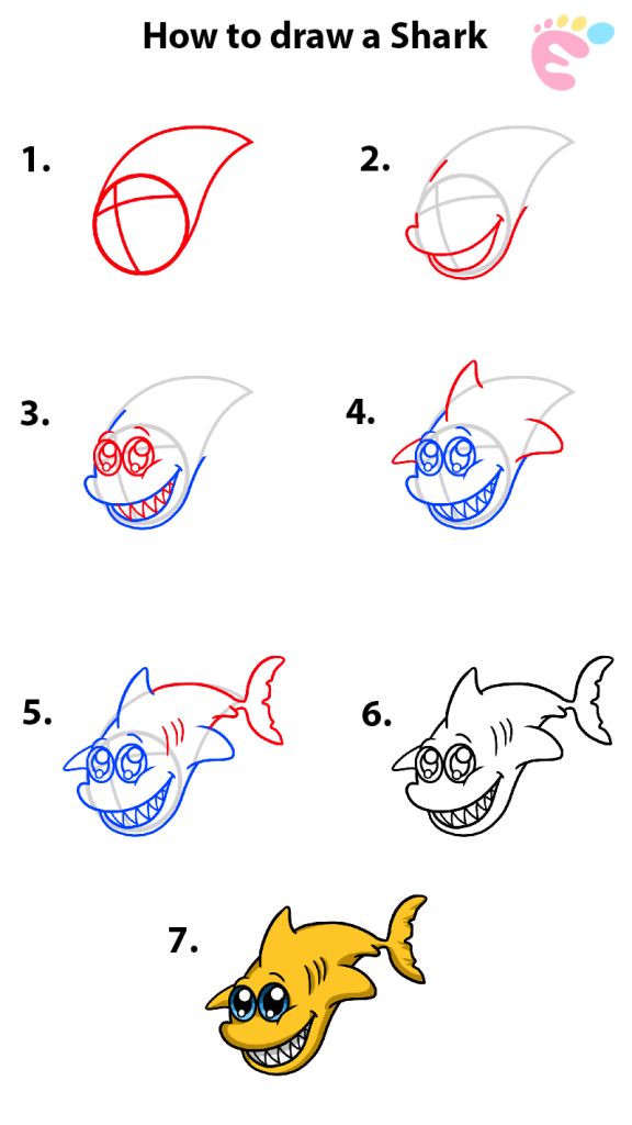 Learn easy to draw how to draw a shark cute drawings 576x1024