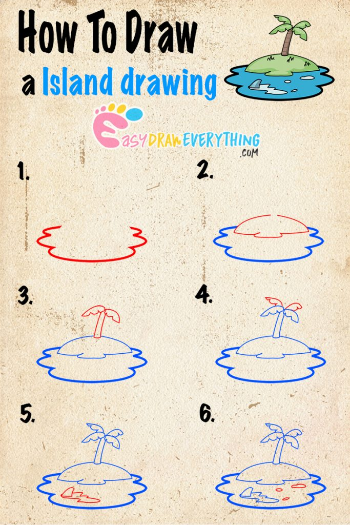 Learn easy to draw how to draw an island drawing step 00 683x1024