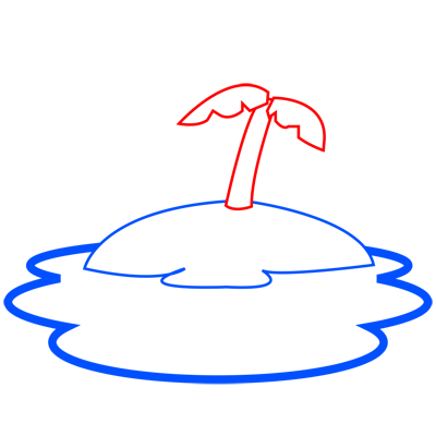 Learn easy to draw how to draw an island drawing step 03