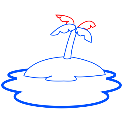 Learn easy to draw how to draw an island drawing step 04