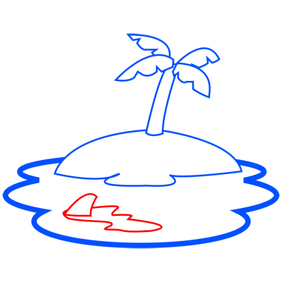 Learn easy to draw how to draw an island drawing step 05