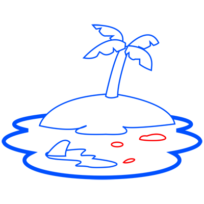 Learn easy to draw how to draw an island drawing step 06