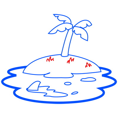 Learn easy to draw how to draw an island drawing step 07