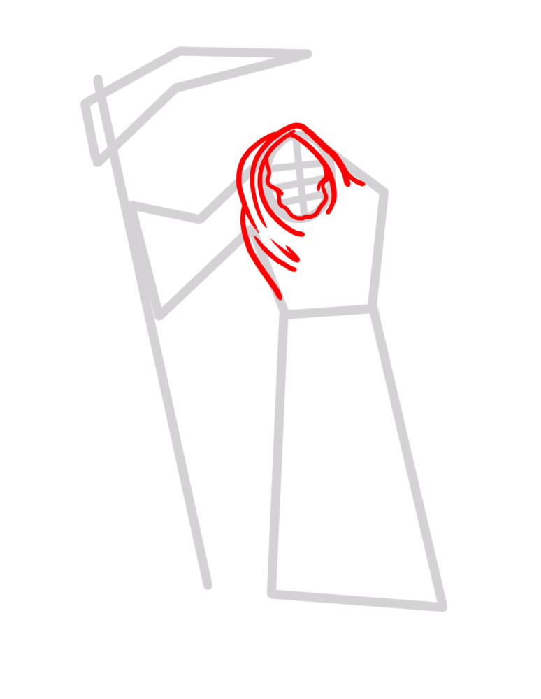 Learn easy to draw how to draw a reaper drawing step 02