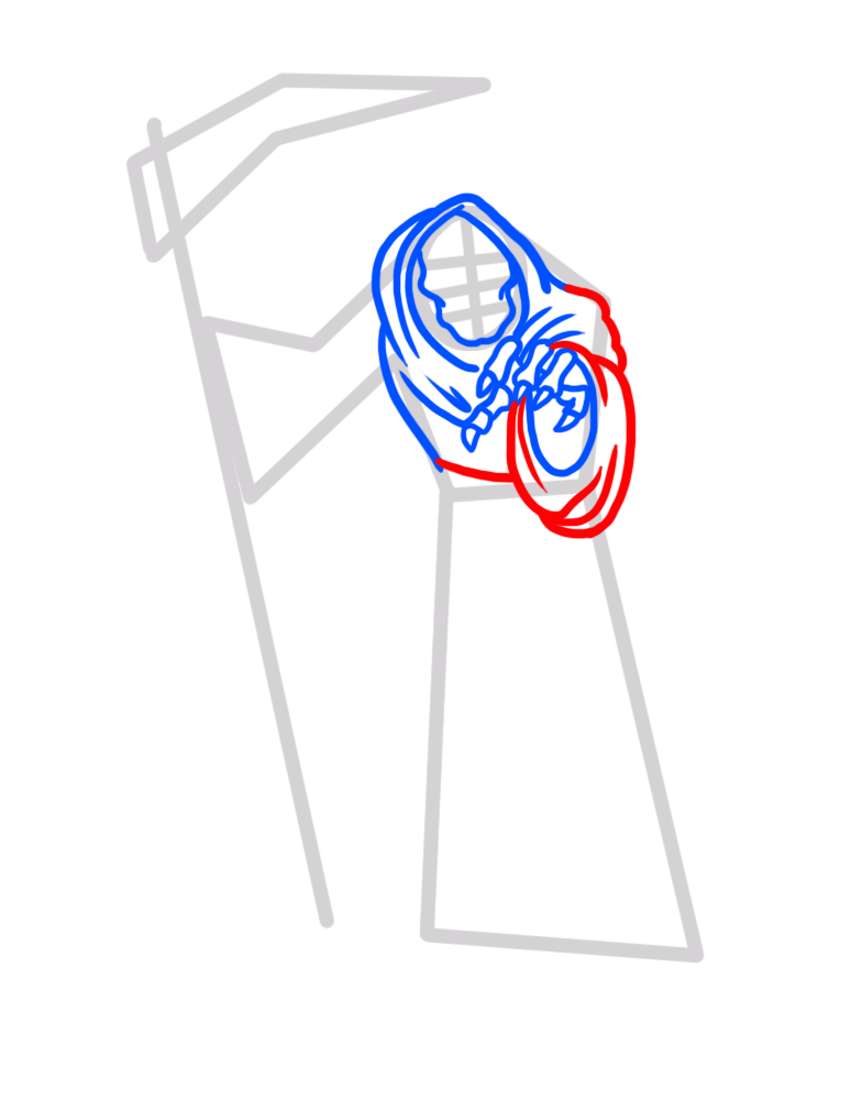 Learn easy to draw how to draw a reaper drawing step 04