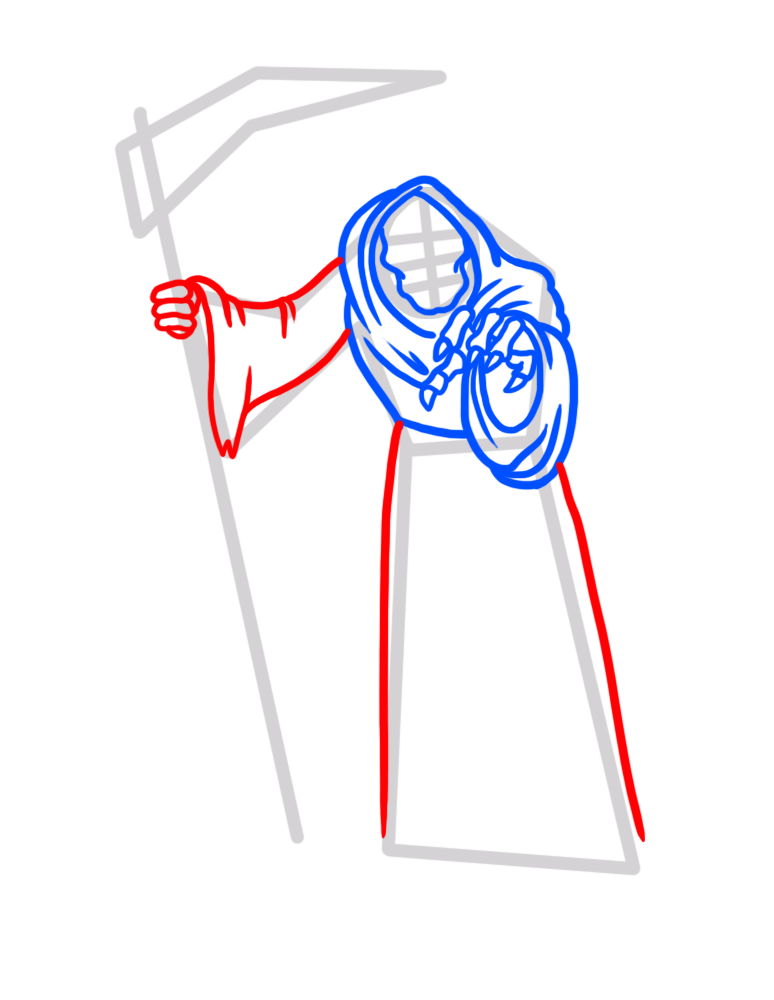 Learn easy to draw how to draw a reaper drawing step 05