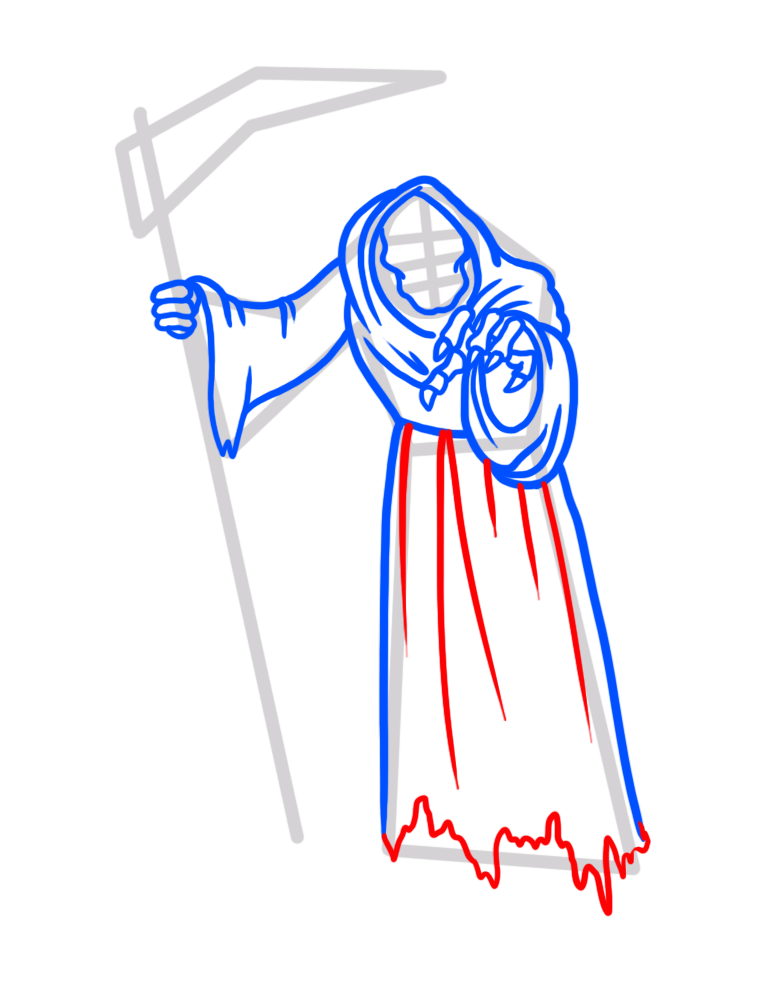 Learn easy to draw how to draw a reaper drawing step 06