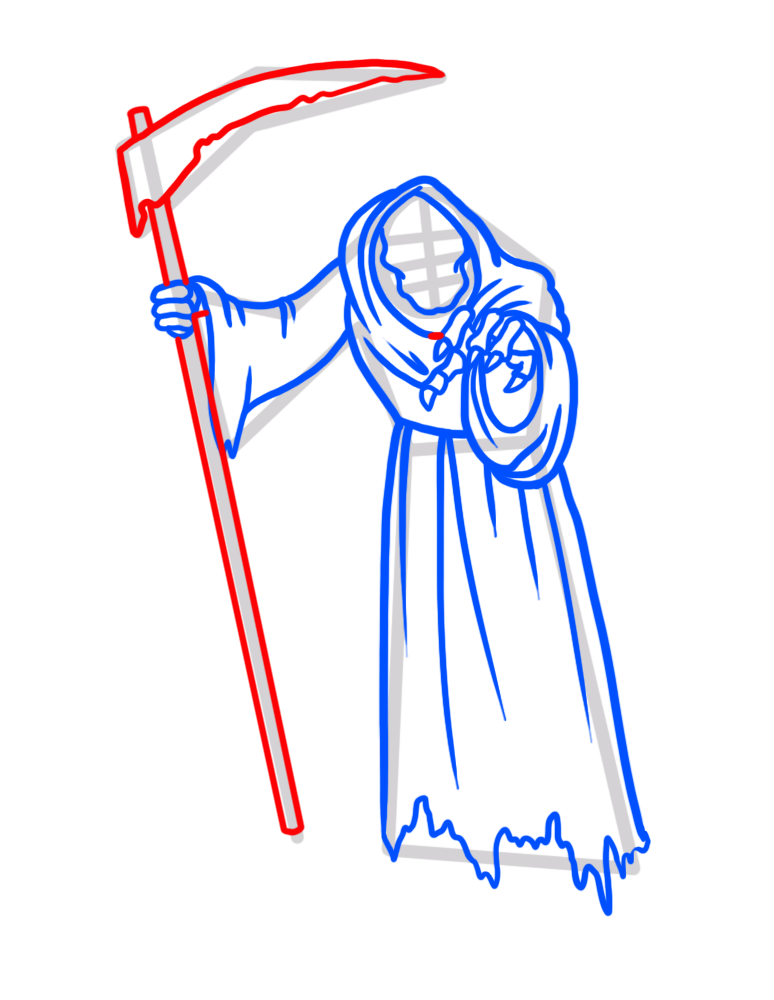 Learn easy to draw how to draw a reaper drawing step 07