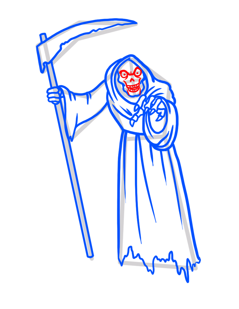 Learn easy to draw how to draw a reaper drawing step 08