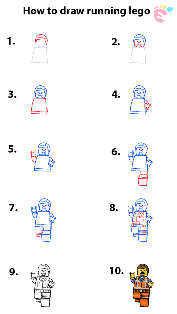 Learn easy to draw how to draw lego running drawing step 00 576x1024