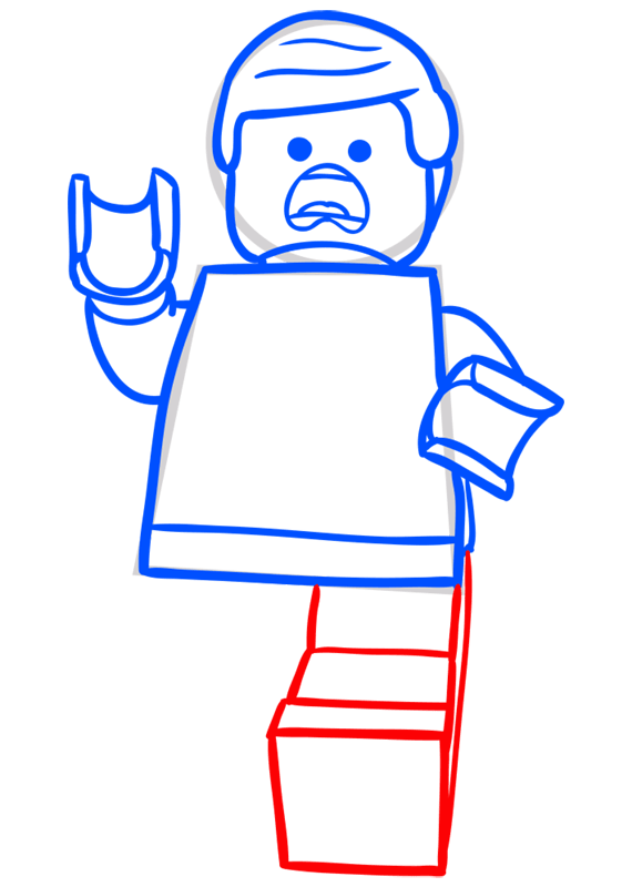 Learn easy to draw how to draw lego running drawing step 07