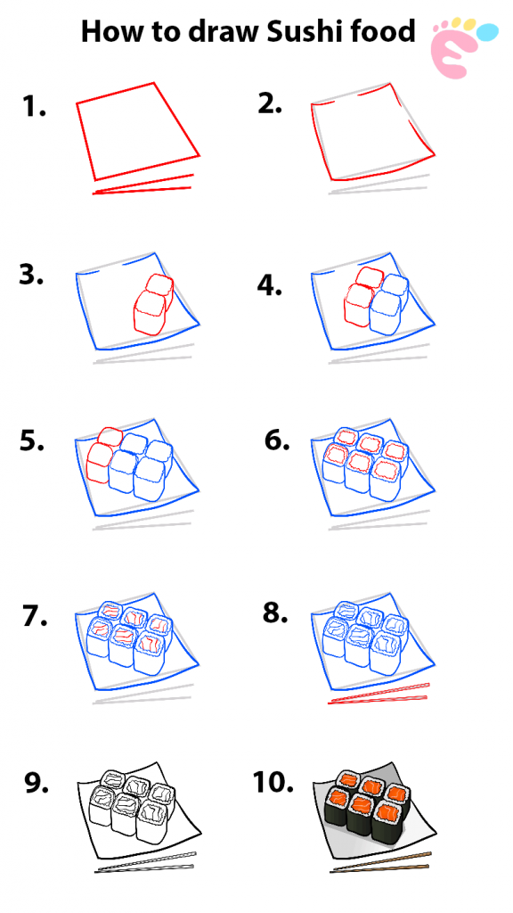 Learn easy to draw how to draw a food sushi drawing step 00 576x1024