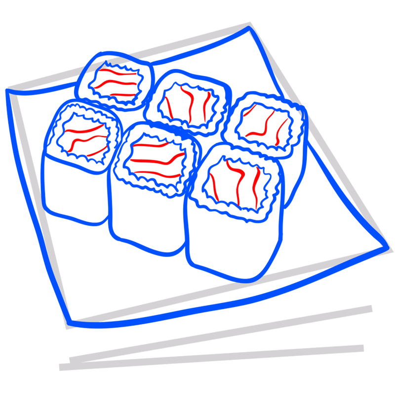 Learn easy to draw how to draw a food sushi drawing step 07
