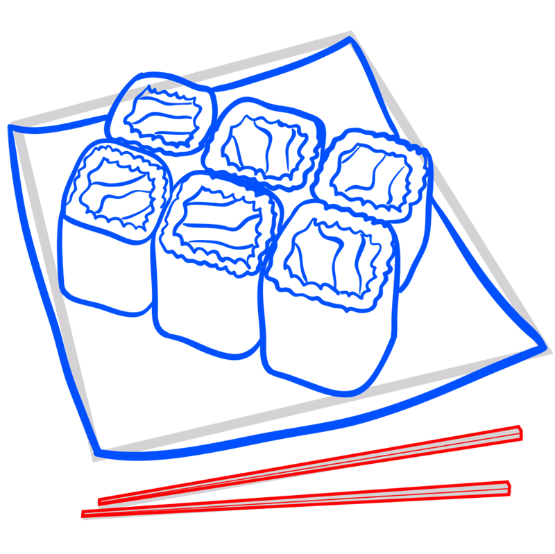 Learn easy to draw how to draw a food sushi drawing step 08