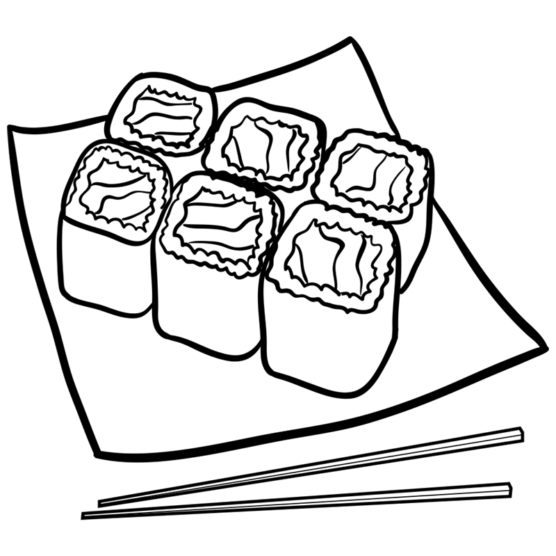 Learn easy to draw how to draw a food sushi drawing step 09