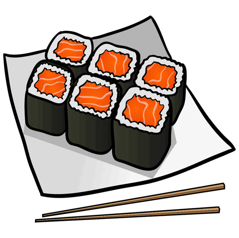 Step by step drawings to draw a sushi drawing