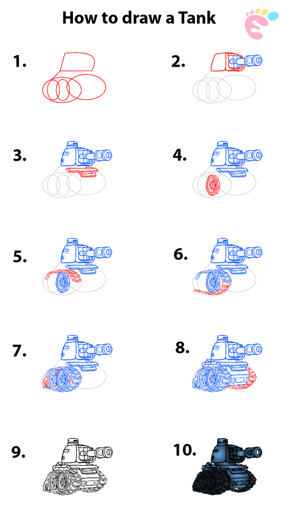 Learn easy to draw how to draw a tank drawing step 00 576x1024
