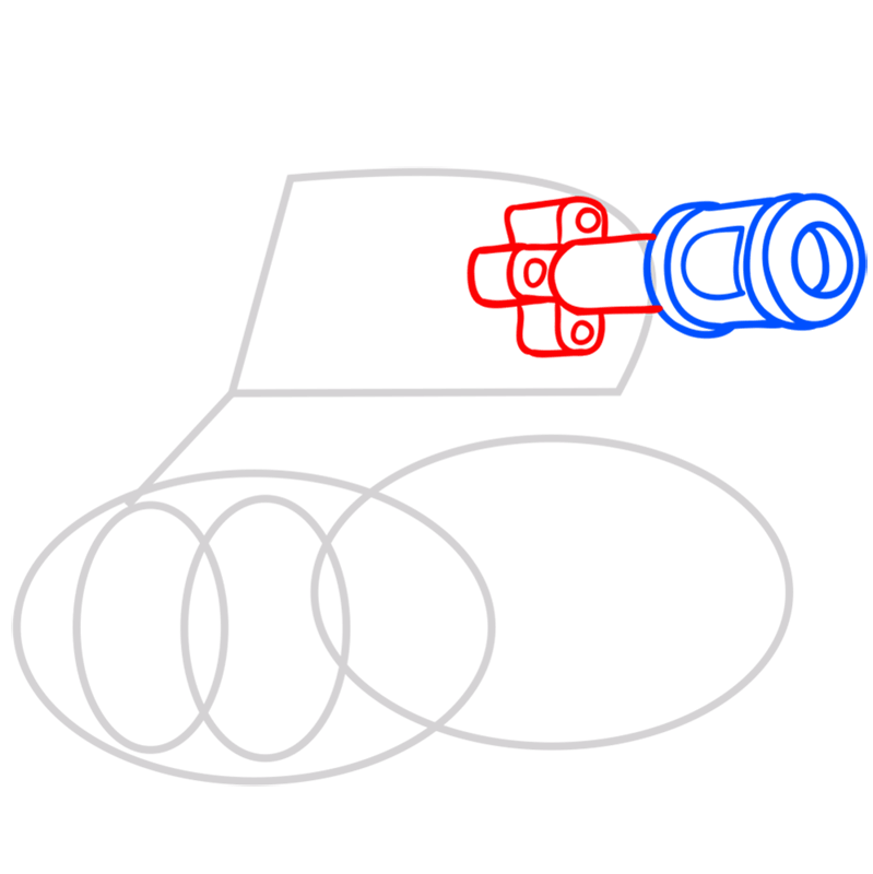 Learn easy to draw how to draw a tank drawing step 03