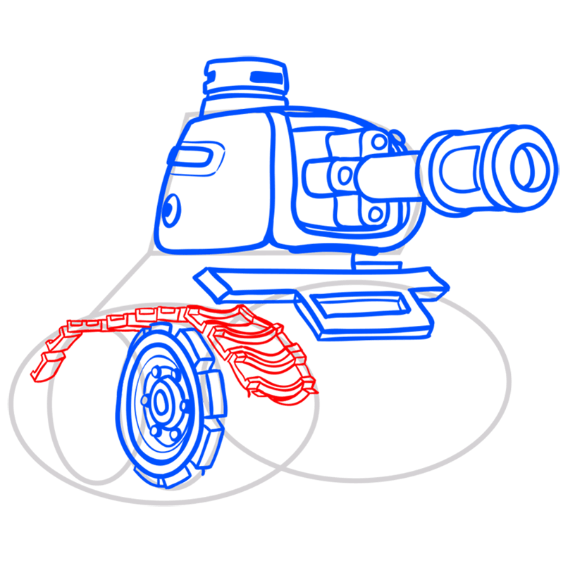 Learn easy to draw how to draw a tank drawing step 08