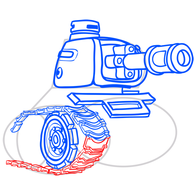 Learn easy to draw how to draw a tank drawing step 09