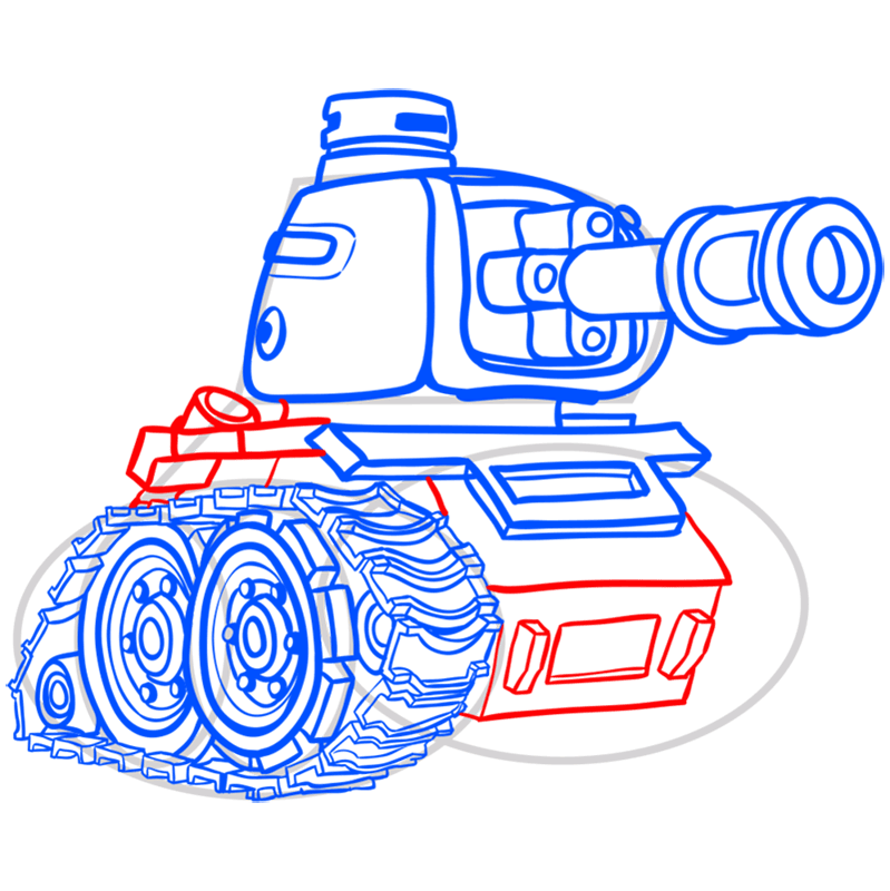 Learn easy to draw how to draw a tank drawing step 12