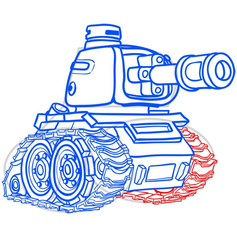 Learn easy to draw how to draw a tank drawing step 13