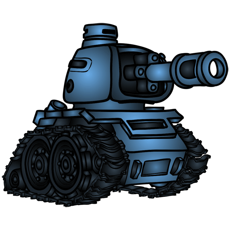 Step by step drawings to draw a tank