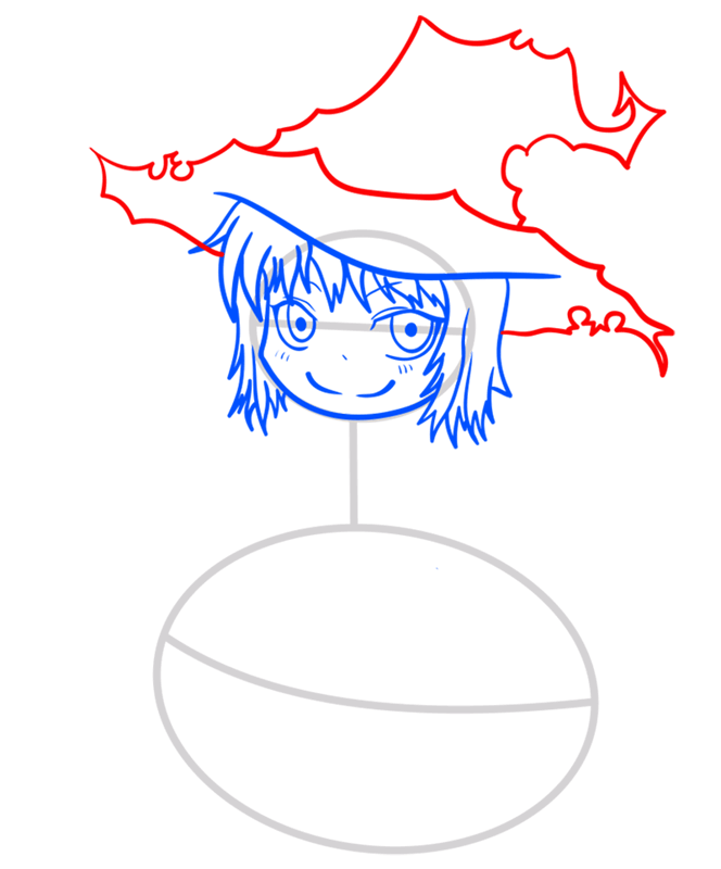 Learn easy to draw how to draw a witch drawing step 05